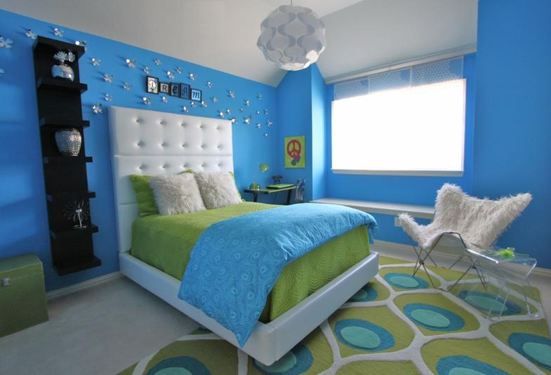 Lime green and blue modern bedroom decorating ideas - Beautiful pictures of lime green bedroom decoration design ideas ...