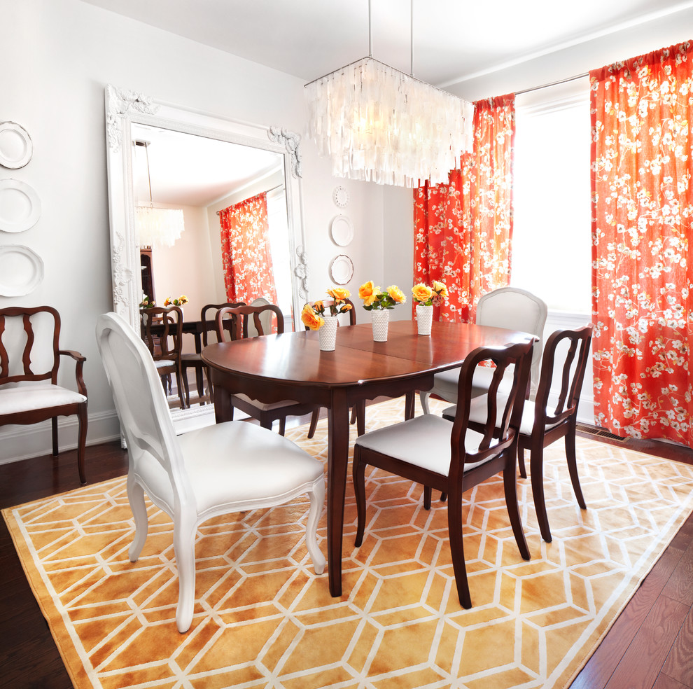 white wooden dining room with nice red floral curtains