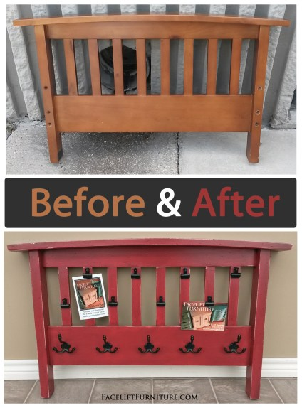 Futon Arm Rest Repurposed into Coat Rack – Before & After from Facelift Furniture