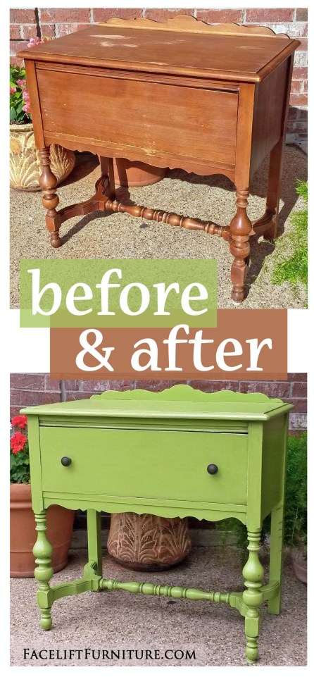 Lime Green Antique Nightstand - Before & After