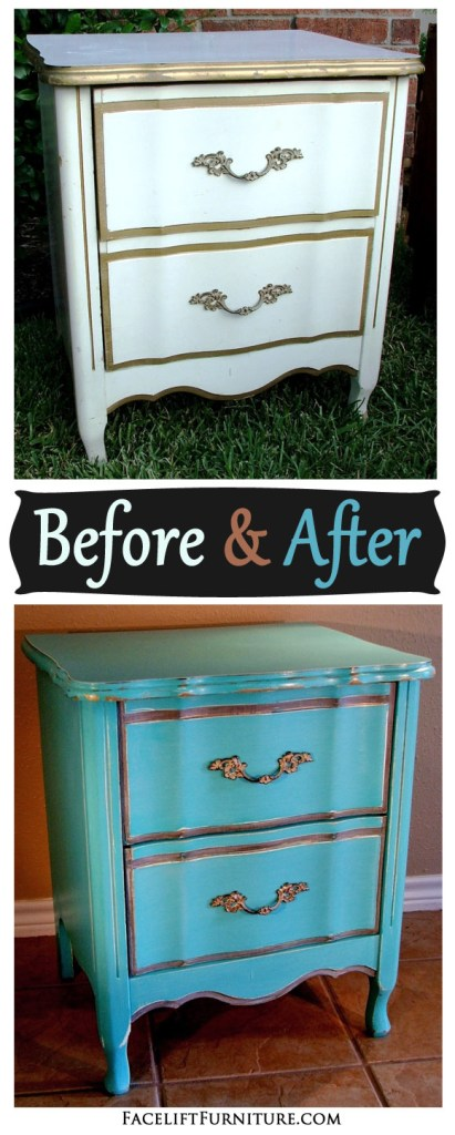 Turqouise French Nightstand - Before & After