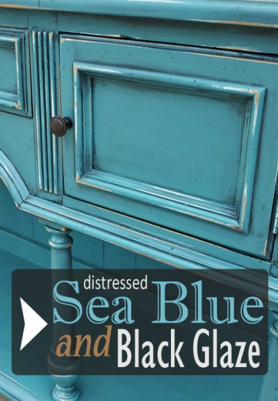 Buffet in distressed sea blue and black glaze - from Facelift Furniture