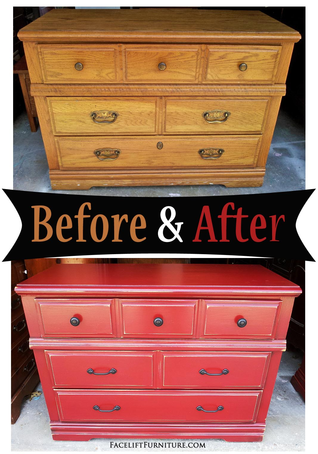This Oak Dresser Was Given A Whole New Look With Paint, Glaze And  Distressing.