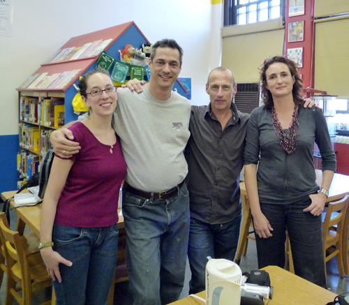Jenny, Frank, Koen & Sabine @ PS 119 Amersfort School Library, Brooklyn