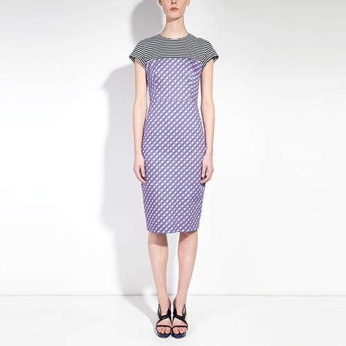 PRINTED ORGANIC COTTON TAILORED PENCIL DRESS