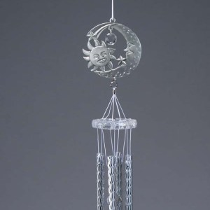 Pewter and Acrylic Half Moon Wind Chime   6-117