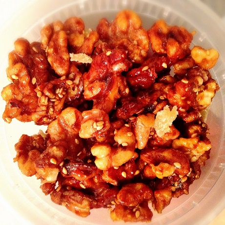 Sriracha Roasted Walnuts with Ginger