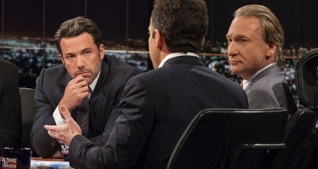 Bill Maher and Ben Affleck look on as Sam Harris, author of Waking Up: A Guide to Spirituality Without Religion, speaks during Real Time With Bill Maher. Photograph: Janet Van Ham/AP