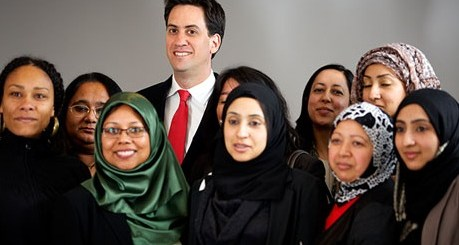Ed Miliband at the launch of the Bradford Circle, a predominantly Muslim women's group, 2012.