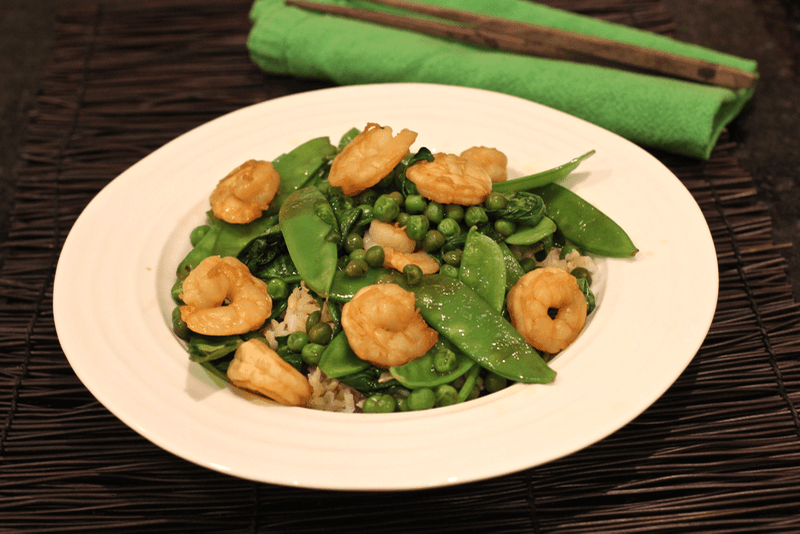 ... and tasty stir fry with shrimp, snow peas, green peas and spinach