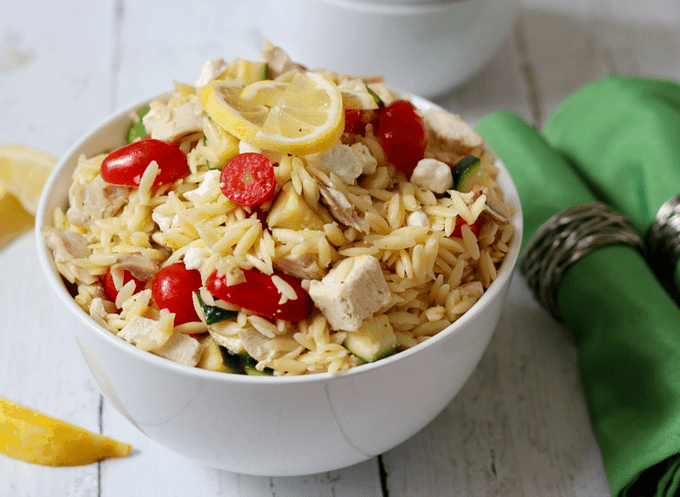 Lemony orzo salad with rotisserie chicken, tomatoes, zucchini and ...