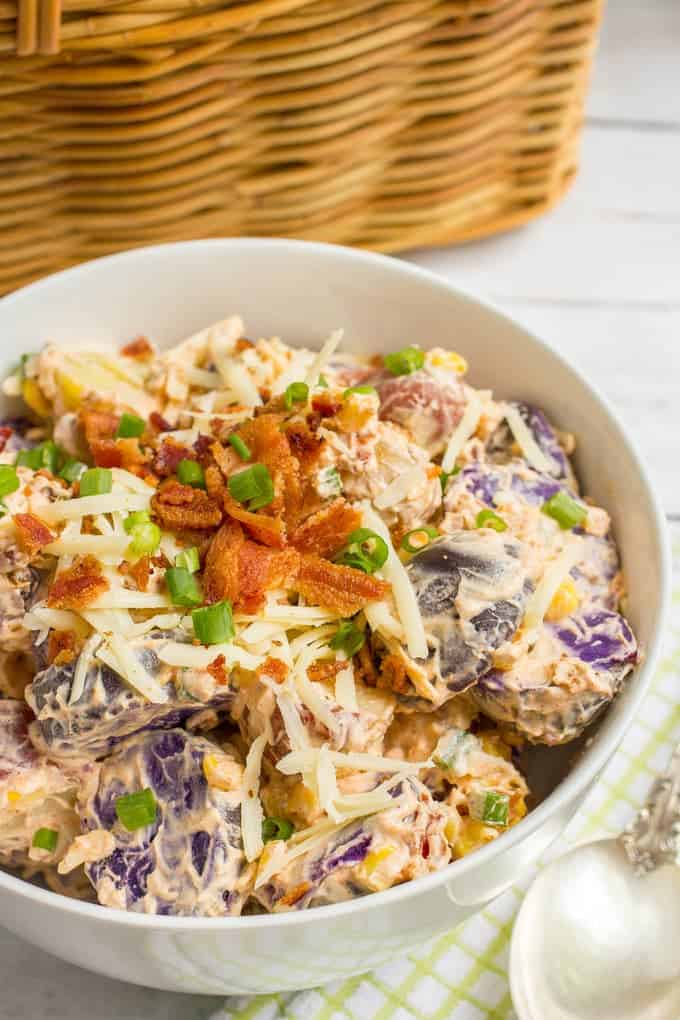 Cheddar corn and bacon potato salad with red, white and 'blue' potatoes - great side dish for summer BBQs, cookouts, picnics and parties!