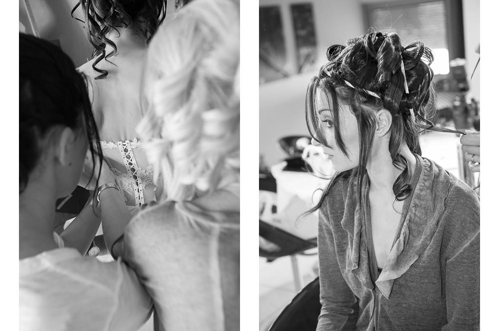 Les préparatifs d'un mariage habillage et coiffure.