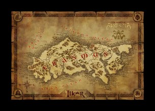 A world map of the continent of Erasmus for the fantasy browser