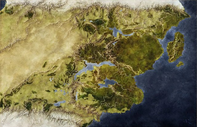 Map of the fantasy world of Sæmyyr for the Pathfinder game by Blackstar Studios, illustrated by Jonathan Roberts