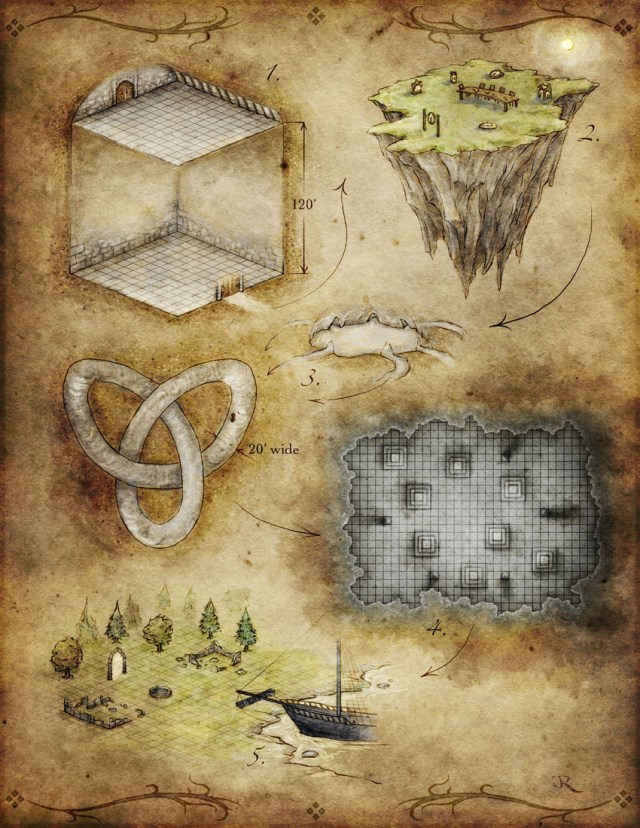 fantasy map of dream world dungeons for Pathfinder