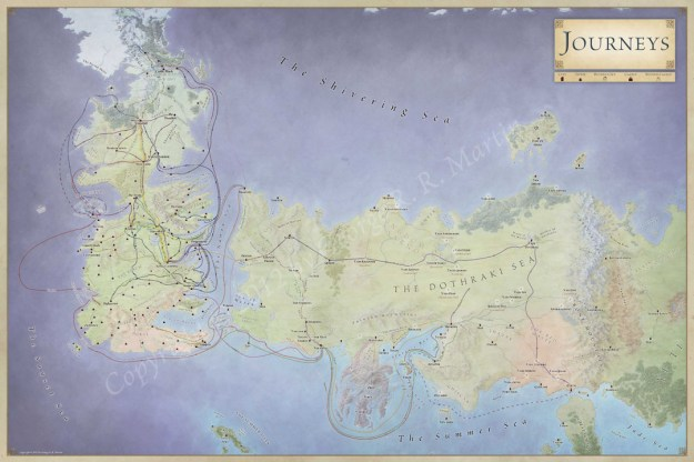 Journeys map of the character routes for Game of Thrones