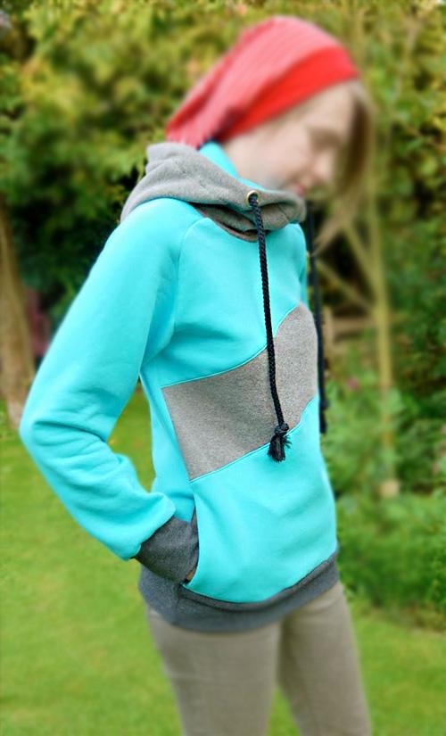 Schnittmuster Kapuzensweater, Hoodie, farbenmix