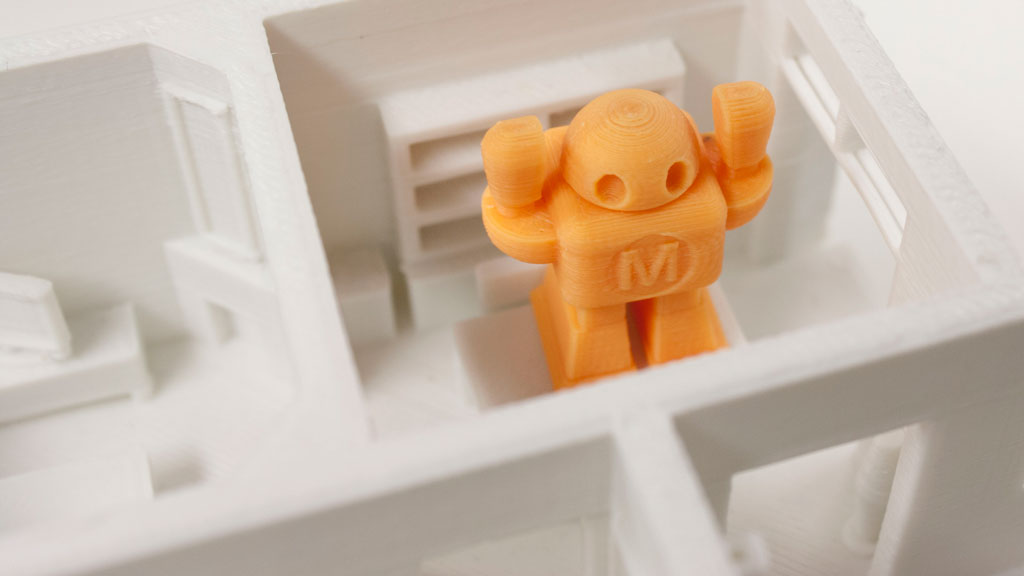 orange robot in white house