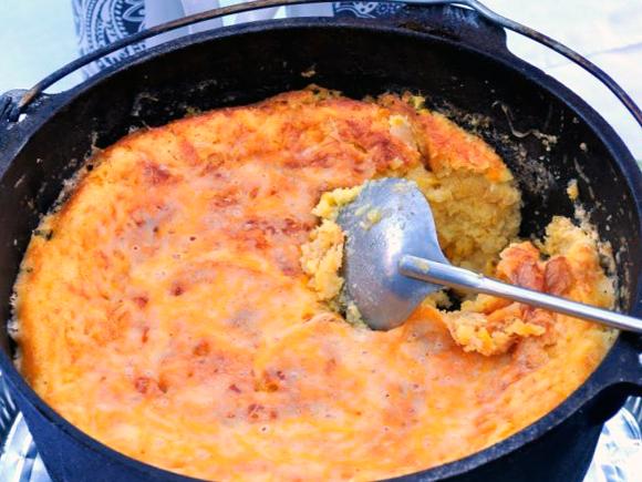 Dutch Oven Corn Casserole   farmgirlgourmet.com #glamping #camping