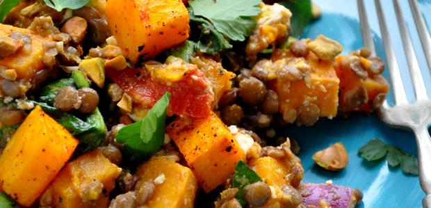 Warm Butternut Squash Lentil and Feta Salad 2