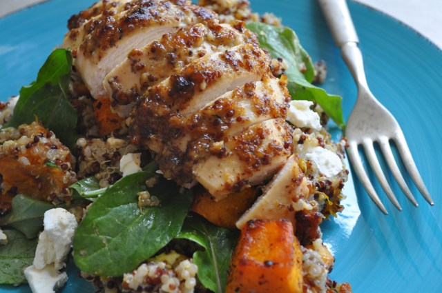 Mustard Crusted Chicken Quinoa Pumpkin Salad | farmgirlgourmet.com