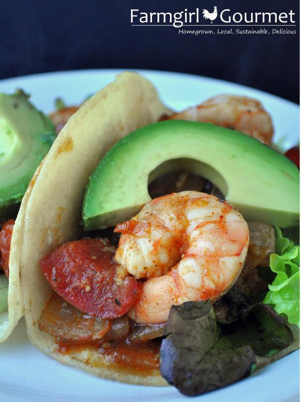 Mexican Shrimp Tomato and Chili Wraps | farmgirlgourmet.com