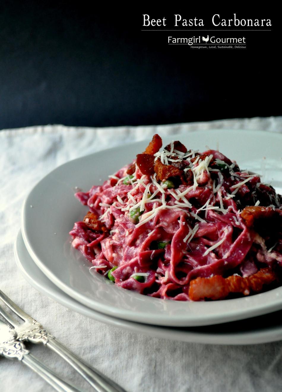 Beet Pasta Carbonara | farmgirlgourmet.com