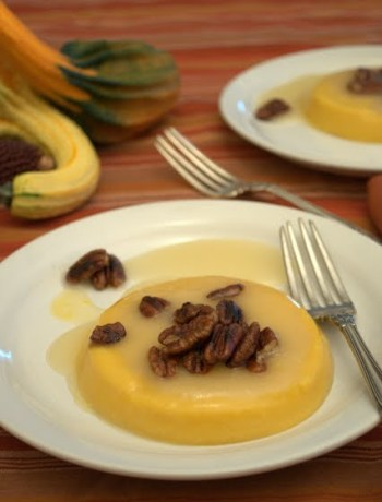 Pumpkin Coconut Panna Cotta with Gingered Pecans by Farmgirl Gourmet