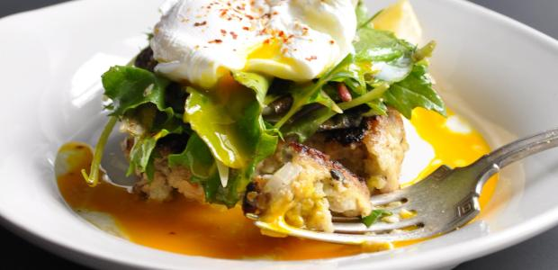 Clam Cakes with Greens & a Poached Egg