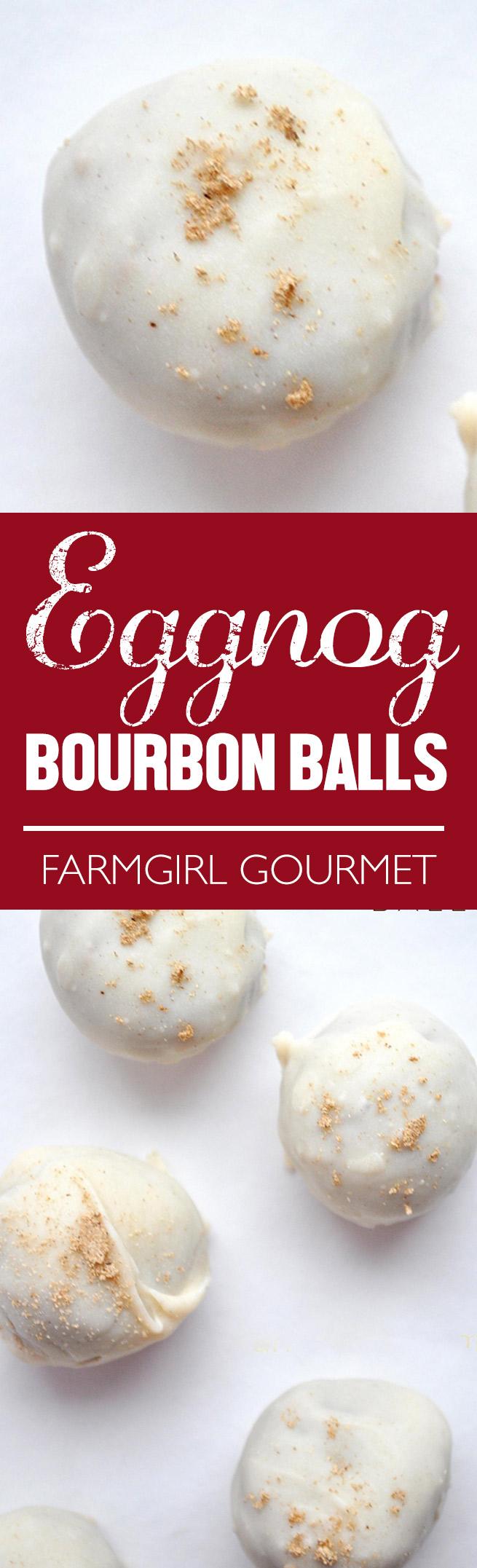 Eggnog Bourbon Balls recipe | farmgirlgourmet.com