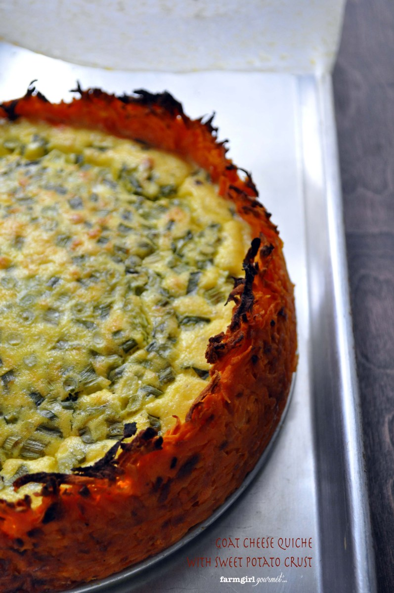 Goat Cheese Quiche with Sweet Potato Crust - #VirtualPotluck