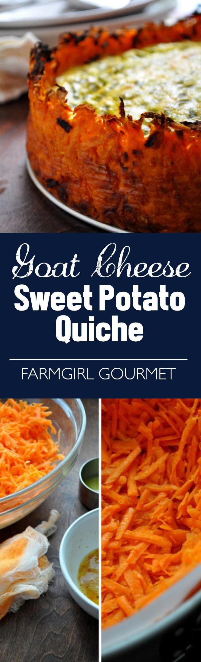 Goat Cheese Quiche with Sweet Potato Crust   farmgirlgourmet.com