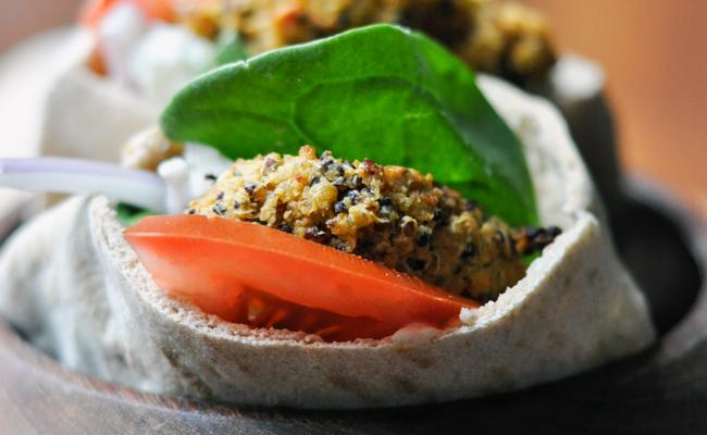 Spicy Hummus & Quinoa Falafel | farmgirlgourmet.com