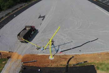 New goalposts being installed on 6/3/2016 . PHOTO CREDIT: Alex Cain, Professional Drone Pilot