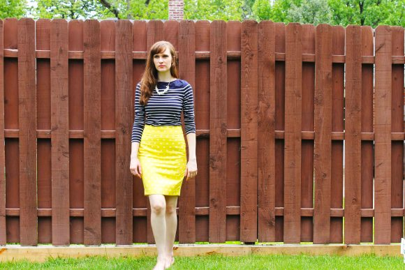 Emily from FBC- LOFT yellow and white polka dot skirt, H&M navy striped top, nude flats, pearl necklace