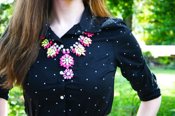 Emily from FBC- Old Navy shirt, Paper dolls necklace