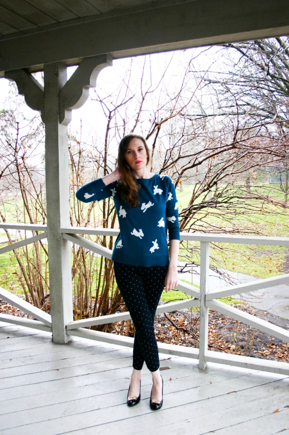 Emily from FBC- LOFT rabbit sweater, Old Navy Pixie Pants, LC Lauren Conrad bow pumps, Aldo earrings