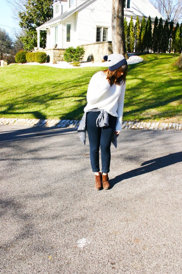 Jeanne FBC H&M oversized white sweater navy pants gingham shirt brown booties banana republic hat 4