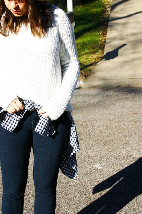 Jeanne FBC H&M oversized white sweater navy pants gingham shirt brown booties banana republic hat