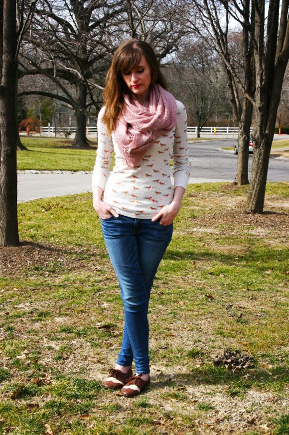 Emily from Fashion By Committee- Target fox tee, AE jeans, World Market Scarf