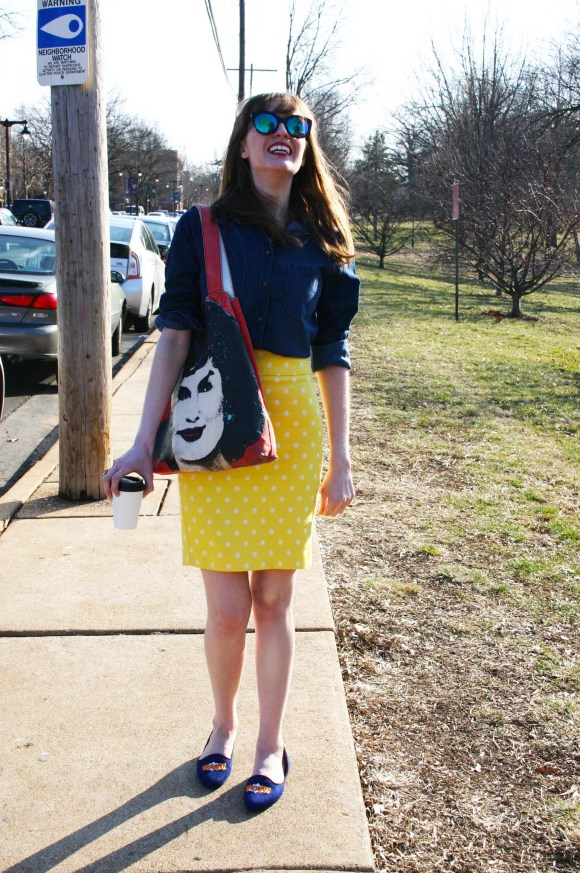 Emily from Fashion By Committee- Target chambray shirt, Ann Taylor yellow polka dot pencil skirt, Call It Spring flats and sunglasses, Andy Warhol Jackie O purse