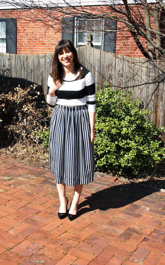 Jeanne FBC Stripes on Stripes Horizontal Verticle Target Black and White Sweater Midi Skirt Patent Heels Rebel Spring 1