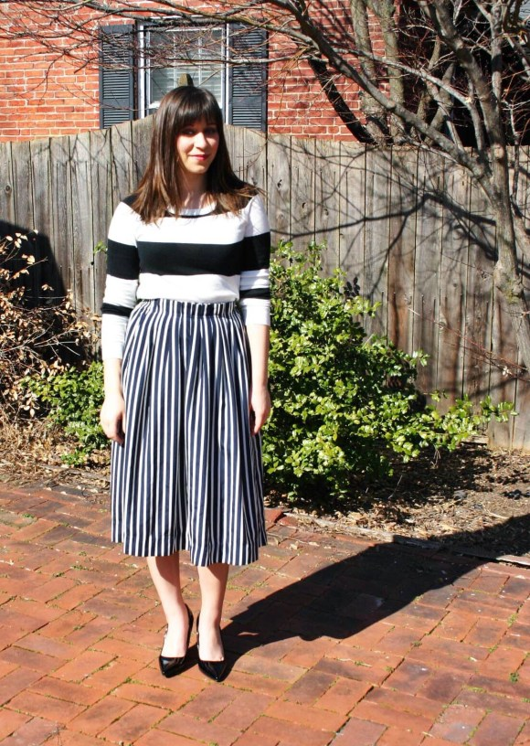 Jeanne FBC Stripes on Stripes Horizontal Verticle Target Black and White Sweater Midi Skirt Patent Heels Rebel Spring 3