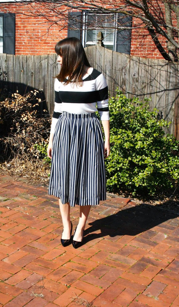 Jeanne FBC Stripes on Stripes Horizontal Verticle Target Black and White Sweater Midi Skirt Patent Heels Rebel Spring