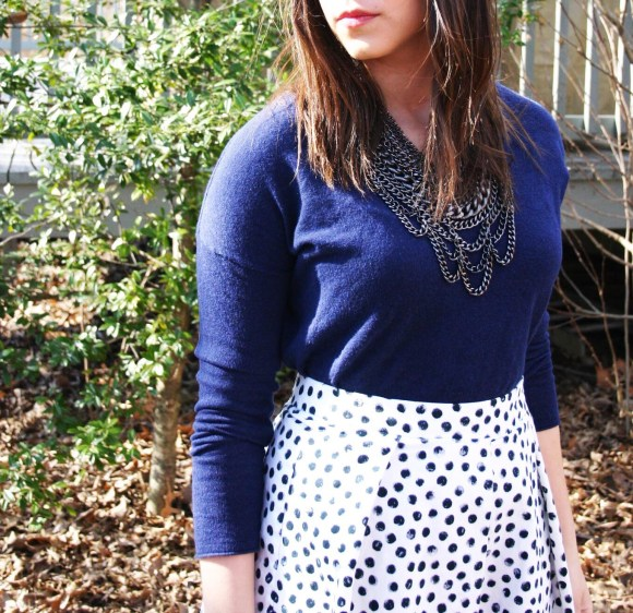 Jeanne FBC Target Who What Wear Black White Polka Dot Birdcage Skirt Navy Sweater Sole Society Crimson Jensine Heels Bow BaubleBar Courtnry Bib Necklace Hematite 10