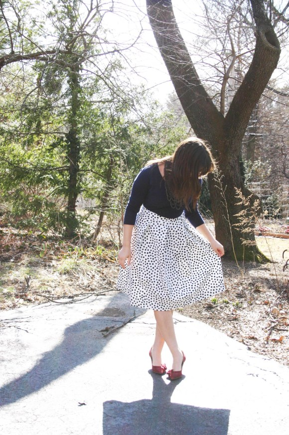 Jeanne FBC Target Who What Wear Black White Polka Dot Birdcage Skirt Navy Sweater Sole Society Crimson Jensine Heels Bow BaubleBar Courtnry Bib Necklace Hematite 9
