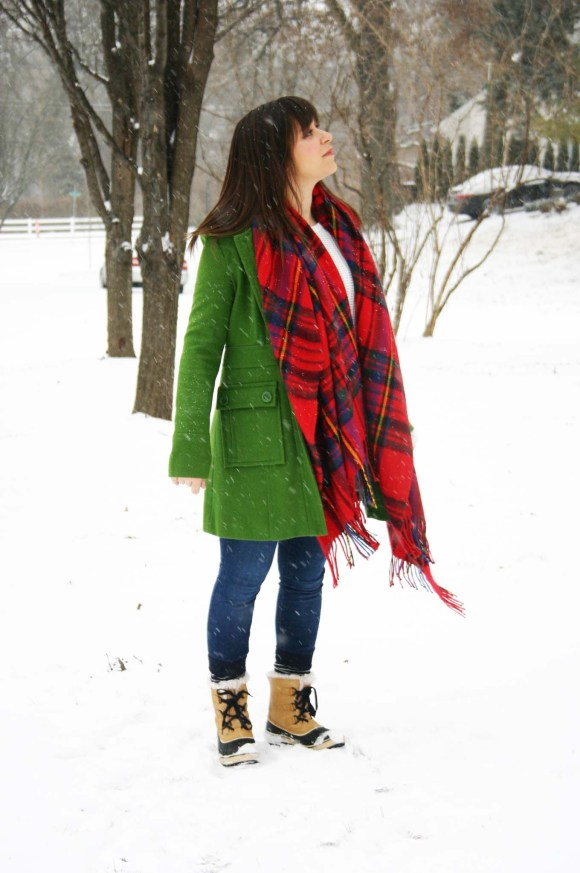 Jeanne FBC green wool coat Target red plaid scarf white H&M knit sweater LOFT legging jeans Sorel Tivoli Boots Snow Day Winter 4