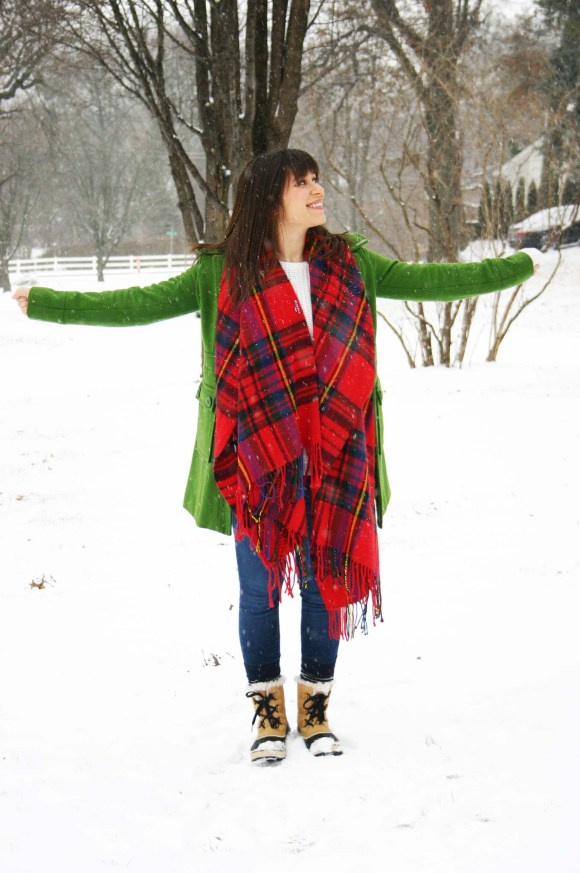 Jeanne FBC green wool coat Target red plaid scarf white H&M knit sweater LOFT legging jeans Sorel Tivoli Boots Snow Day Winter 5