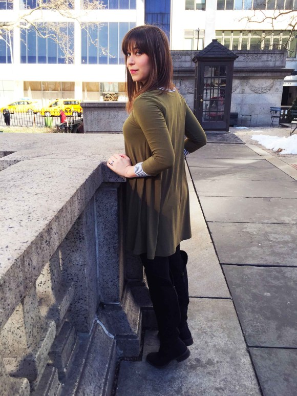 Jeanne FBC olive swing dress LOFT striped shirt black tights sole society Andie OTK boots 4